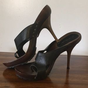 Kenneth Cole heels, black leather upper/wood base